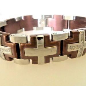 Men's Stainless Steel/ Brown Plated Cross Bracelet